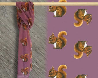 Red Squirrel Scarf women - Scarves for women - Squirrel Gifts - Ladies Scarves - Art Scarf - Gift for women - Gift for her - Red Squirrel