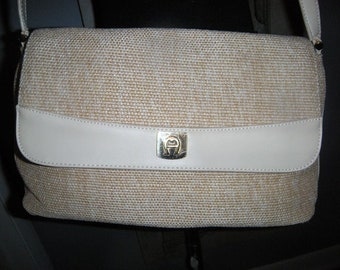 Vintage Etienne Aigner Purse ~ Neutral Tan ~ Woven Jute Shoulder Bag