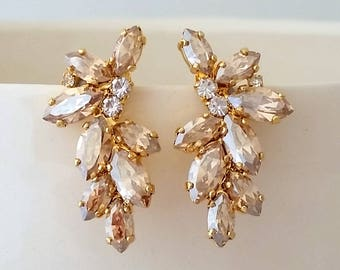 Bridal earrings,Champagne earrings,Swarovski Crystal earrings,Champagne Cluster Studs,Swarovski Bridal earrings,Vintage Earrings,Gatsby