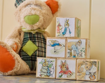 nursery decor, wooden blocks, peter rabbit, baby blocks, stacking toys, baby boy gift, baby girl gift, toy blocks