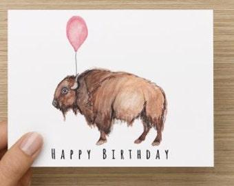 Bison Birthday Card