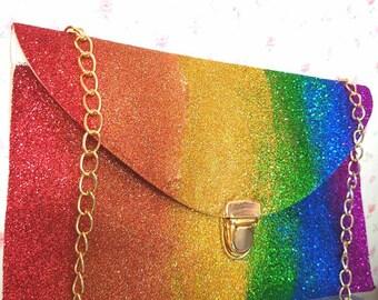Rainbow ombre clutch bag. Summer bag. Rainbow bag. Ombre bag. Ladies bag.