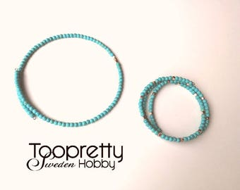 Imitated turquoise stone chocker and bracelet