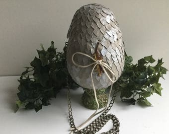 "Dragon egg purse, 8"" dragon egg, Easter egg, tan, pearl shimmer, READY TO SHIP"