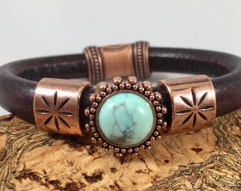 Turquoise, Turquoise Jewelry, turquoise bracelet, Leather bracelet. Leather. Bracelet. Jewelry. Cuff. Wife Gifts. Unique gift. Stackable