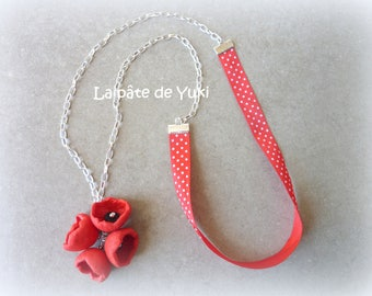 Red flowers hand made polymer clay necklace