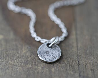 Tiny Organic Coin Necklace | Sterling Silver Necklace Handmade Jewelry | Minimalist Silver Disc Necklace for Women | Gift for Her