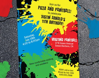 Grunge Splatter Paintball Birthday Party Invitation, Printable, Evite or Printed (US only) Invitations
