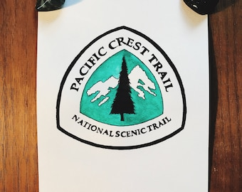 The Pacific Crest Trail Thru Hike Watercolor Badge