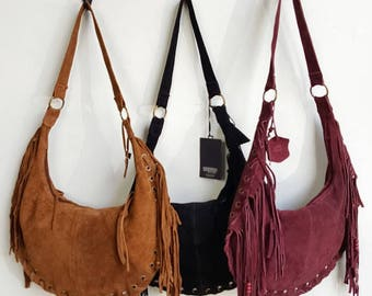 Suede Boho Fringe Bag / Suede Fringed Hobo Bag