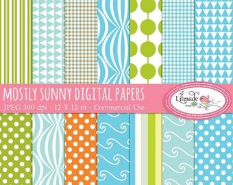 50%OFF Mostly Sunny digital papers, digital scrapbook paper, patterned paper, summer digital papers, P36