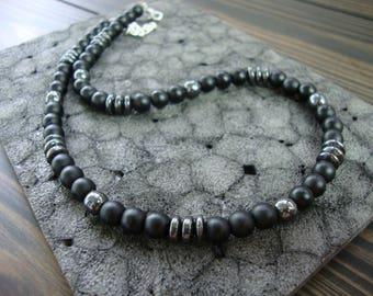 Black necklace for man Onyx choker Hematite necklace Gemstone Jewelry Black Necklaces men Beaded necklace Gifts for men Minimalist necklace
