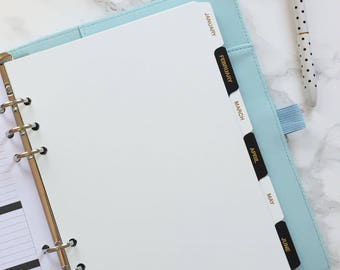 Monthly Tabbed Planner/Diary Section Dividers with Gold Foil Labeling - A5 - Black, White or Mixed