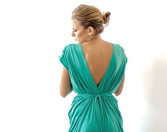 Kelly green maxi bridesmaids dress , Green short sleeves dress 1008
