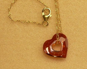 Miss U  Heart and Gold Necklace with Swarovski Crystal