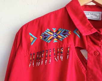 Red Aztec Cut-Out Western Shirt