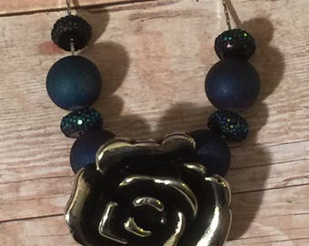 Hand beaded rose necklace