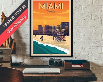 Miami - Florida - Vintage Travel Poster, framed poster, wall art, home decoration, wall decoration, gift idea, retro print