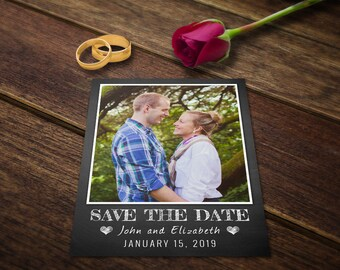 Save the Date Cards - Save the Date Card Templates - Save the Date Invitations - Save the Date Photoshop Wedding Postcard Chalkboard