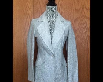 60s Silver Lame Dressy Blazer - Holidays, Party, NYE Chic - S