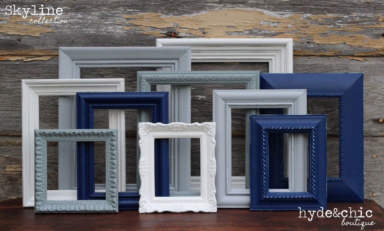 Navy Blue Grey White Picture Frames Upcycled Distressed