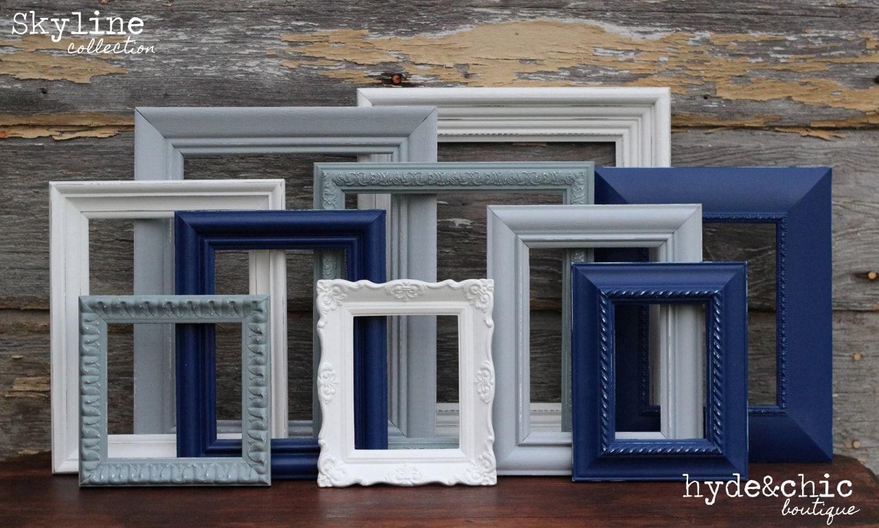 Navy blue grey white picture frames upcycled distressed zoom jeuxipadfo Gallery