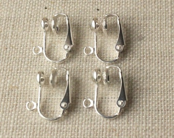 Silver Clip on earring findings or Gold clip adaptors silver plated Clip-ons non pierced nickel free Earring Clip change pierced to clip