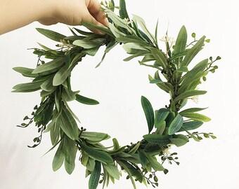Green Olive Leaf Crown, Greek Goddess Crown, Leaf Hair Wreath, Leaf Headpiece