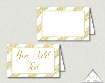 Gold Glitter Tent Labels, Buffet Cards, Editable Labels,  Printable Name Cards, Editable PDF File, Gold and White Labels, Gold Party Decor