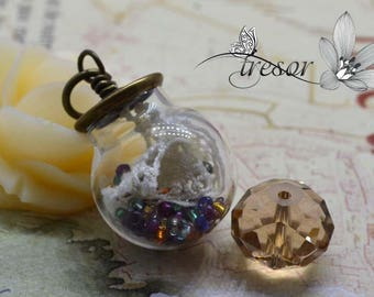 glass bottle charm 20 mm bronze lace Hat