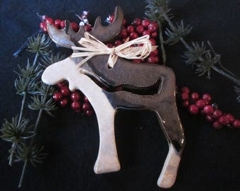 Pottery, Moose, Ornament, Christmas, Cermamic, Handmade