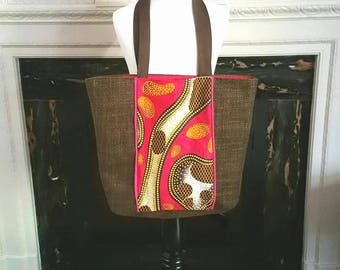 Brown tweed and african print fabric (wax)