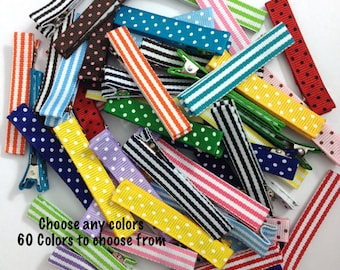 25 LARGE Stripes & Dots Lined Alligator Clips, 57mm Single Prong, No Slip Clips, Partially, Fully Lined, Large Hair Clips, Lined Hair Clips