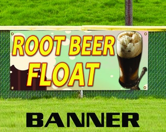 Root Beer Float Ice Cream Dollop of Whipped Cream Advertising Vinyl Banner Sign