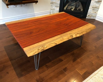 Live edge African paduak coffe table