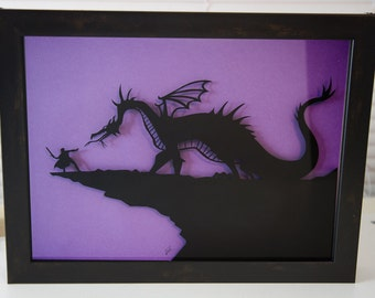 Maleficent and Prince Phillip Sleeping Beauty hand cut 3D paper craft silhouette in shadowbox wall decor unique inspired disney art