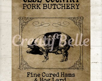 Vintage Primitive Pig Instant Digital Download Printable Old Country Farm Style Graphic Transfer Image 1223
