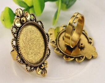 20mm: 1 adjustable brass ring holder, decorative flower antique gold 20mm cabochon