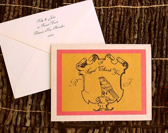 50 wes anderson fan style The ROYAL MOONRISE pre written thank you cards addressed envelopes yellow pink retro mod shield crest MONOGRAM