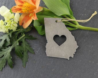 Love Georgia Spring Decor Christmas Ornament Custom Gift for Her Personalized Stamping Engraving State Souvenir Travel Home Rustic Wedding