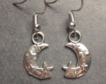 Moon and Star charm earrings