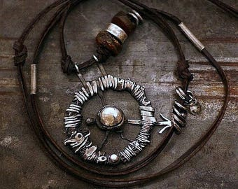 USE CODE - 15OFF • SALE 15% • inspirational Travel gift Raw silver  Compass Necklace • raw amber • Leather necklace •  Oxidized silver