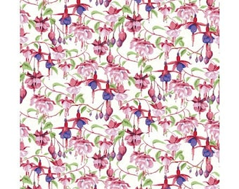 Clothworks Fabrics - Fuschias and Hummingbirds by Barb Tourtillotte - Y2355-1 - Floral
