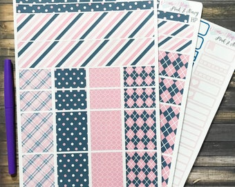 Pink and Navy Weekly Kit, weekly sticker kit, planner kit