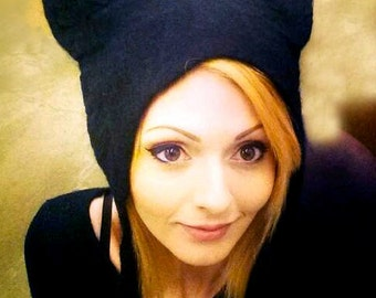 Black Cat Ears Cosplay Hat, hand felted Kat Von D hat Halloween pagan headdress fancy dress costume witches feline hat
