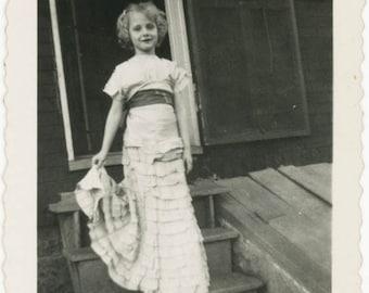 vintage snapshot 1954 Little Girl Princess Dress Janet Make up Stands Steps