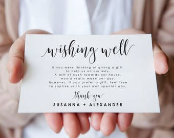 Wishing Well Card-Wishing Well-Wedding Wishing Well Card-In Lieu Of Gifts Card-Enclosure Card-Insert Card-Wedding Insert Card-SN022WW