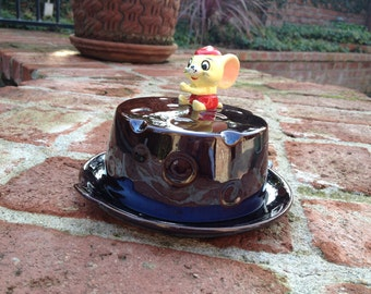 Vintage Cheese Dish With Mouse on Top