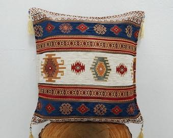17x17 Cushion Case with Kilim Style Decorative Pillow Case