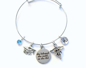 Gift for DPT Graduation Present, 2018 Doctor of Physical Therapy Bracelet Jewelry, Charm Bangle Therapist, She Believed She could Silver